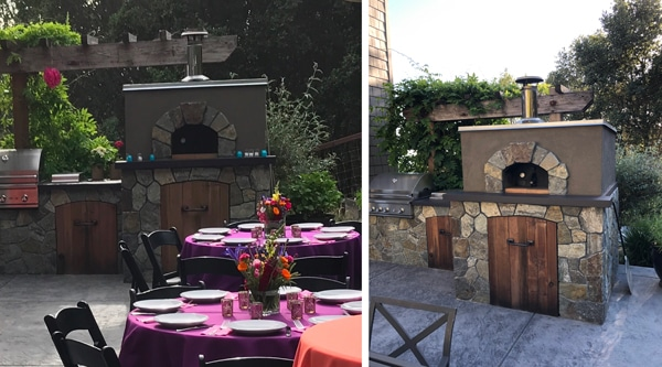 Stucco adn Stone Pizza Oven on patio-2 views