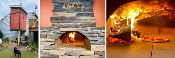 Close Up of Pizza Oven and Sign - Wood Buring in Oven and Pizza Baking