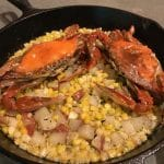 cast iron pan-crabs-hash