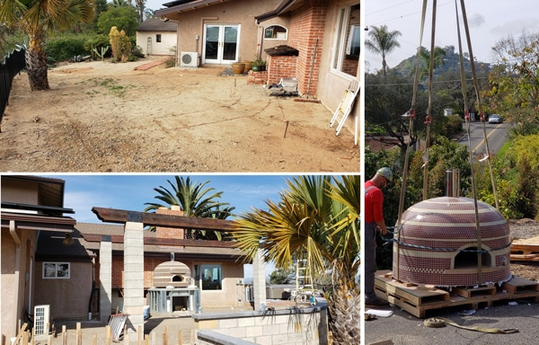 Collage of yard before adn during kitchen build-pizza oven ready to be craned into place