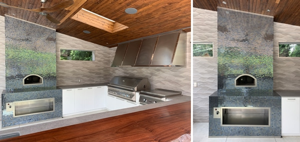 twp views of pizza oven with iradesent blue tile facade