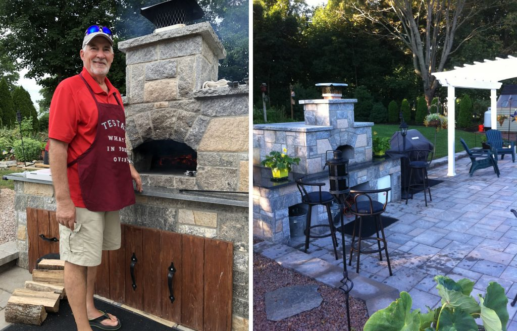 Bi pic-stone oven on patio-chef in apron