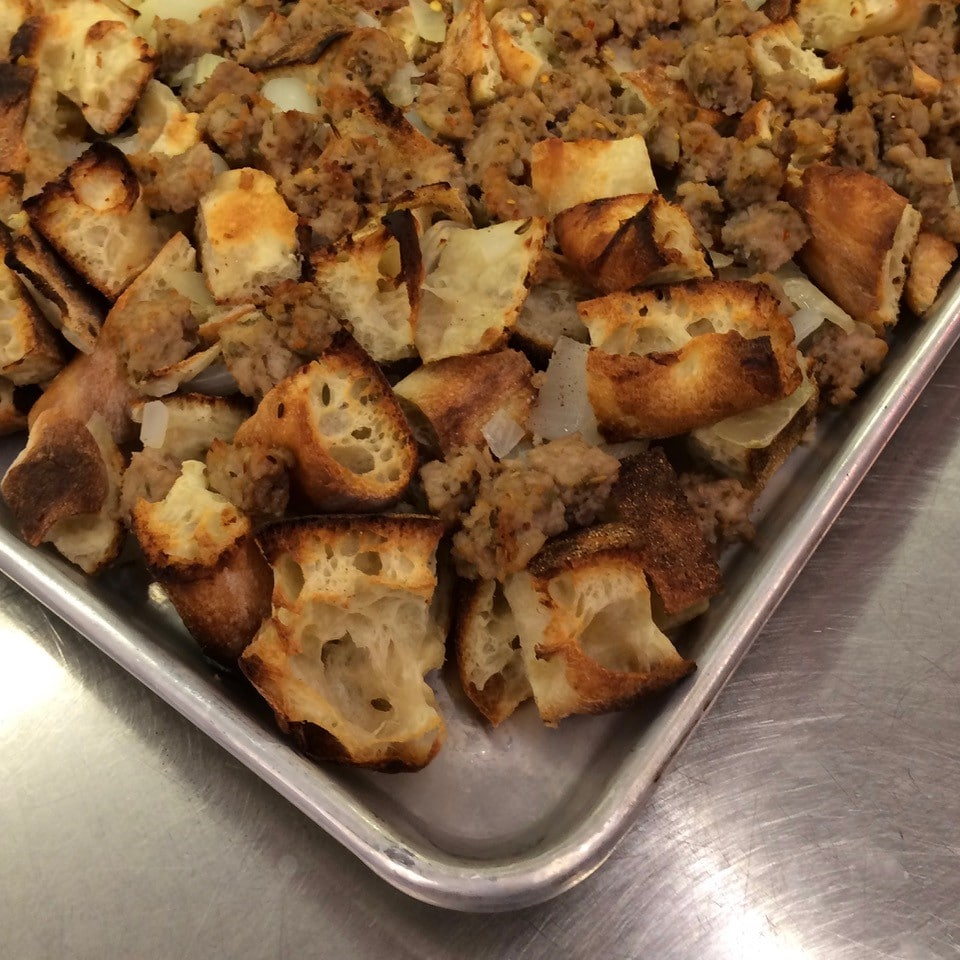 Tray of pizza dough and dry stuffing